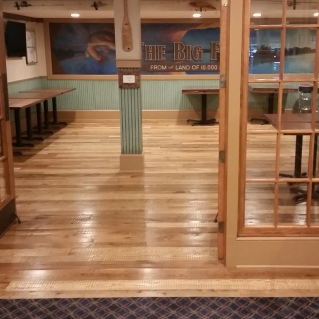 A floor after application of a stain